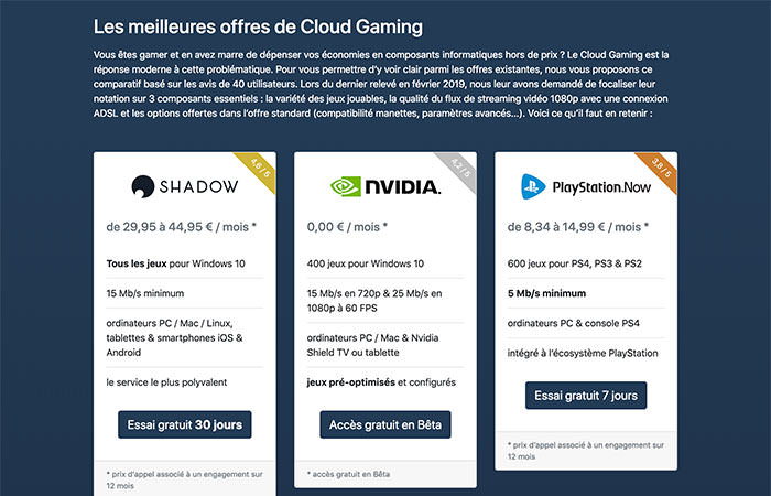 Aperçu de Gaming Compare