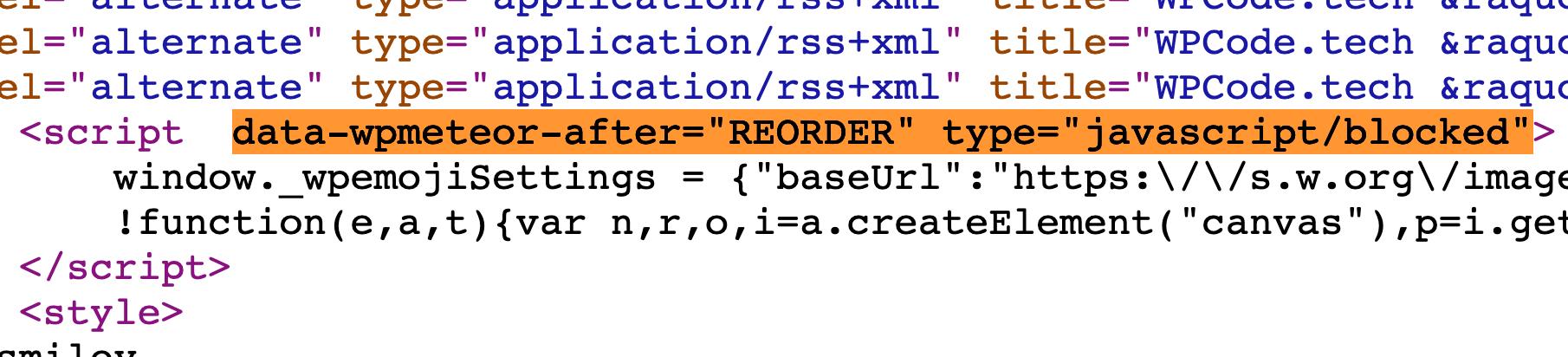 Avec WP Meteor, tous les scripts sont bloqués au chargement.
